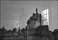 . (Martin Ritter) Tags: blackandwhite bw abandoned film analog leipzig analogphotography bnw filmphotography lostplaces filmisnotdead filmisalive lostplacesleipzig diyanalogphotography girl exposure doubleexposure double glas