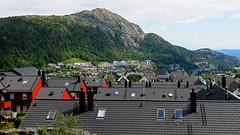 Dwellings at Festeråsen towards Mt. Lyderhorn (Odd Roar Aalborg) Tags: dwelling apartment village mountain witch chimney roof forest hillside lyderhorn loddefjord festeråsen kjøkkelvik bergen fæsteråsen olsvik