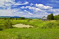 A Pastoral Scene (WTW Pics) Tags: thunderbay ontario canada barn pond farm fields country rural sky summer clouds