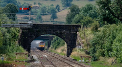 Hot, dry and dusty (Peter Leigh50) Tags: bridge semaphore signal peak district edale gbrf shed class 66 dust stone freight train fujifilm fuji xt2 telephoto trees track railway railroad rail rural countryside