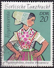 Deutsche Briefmarken (micky the pixel) Tags: briefmarke stamp ephemera deutschland deutschepost ddr tracht costume volkstracht tanztracht sorben wenden hoyerswerda