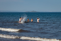 Portabello Beach April 2019-45 (Philip Gillespie) Tags: edinburgh portabello scotland summer sun sky sea beach sand people men women boys girls bikini bathing swimming water wet splash waves hands feet legs arms heads faces hot sport volley ball activities jumping leaping diving colour mono blue yellow orange pink outdoor outside nature firth forth boats sailing play playing art composition canon 5dsr tones light shade bright warm fun
