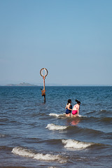 Portabello Beach April 2019-44 (Philip Gillespie) Tags: summer sky sun scotland edinburgh portabello girls sea people men feet beach boys wet water swimming sand hands women waves legs bikini bathing splash hot colour sport ball mono jumping arms faces diving heads volley leaping activities pink blue orange playing art nature yellow boats outside sailing play outdoor forth firth light composition canon fun warm bright shade tones 5dsr