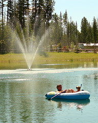 Swimming Pond (C.A.Johnston) Tags: boat pond water swimming sun summer fun family rusticriver alberta canada