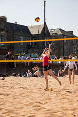 Portabello Beach April 2019-12 (Philip Gillespie) Tags: edinburgh portabello scotland summer sun sky sea beach sand people men women boys girls bikini bathing swimming water wet splash waves hands feet legs arms heads faces hot sport volley ball activities jumping leaping diving colour mono blue yellow orange pink outdoor outside nature firth forth boats sailing play playing art composition canon 5dsr tones light shade bright warm fun
