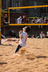 Portabello Beach April 2019-9 (Philip Gillespie) Tags: edinburgh portabello scotland summer sun sky sea beach sand people men women boys girls bikini bathing swimming water wet splash waves hands feet legs arms heads faces hot sport volley ball activities jumping leaping diving colour mono blue yellow orange pink outdoor outside nature firth forth boats sailing play playing art composition canon 5dsr tones light shade bright warm fun