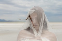 Solitude (Caroleyene) Tags: youngwoman youngadult beach alone peaceful moody thegreatsaltlake greatsaltlake wind