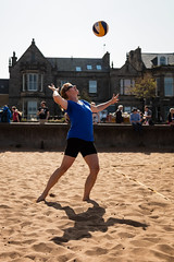 Portabello Beach April 2019-10 (Philip Gillespie) Tags: edinburgh portabello scotland summer sun sky sea beach sand people men women boys girls bikini bathing swimming water wet splash waves hands feet legs arms heads faces hot sport volley ball activities jumping leaping diving colour mono blue yellow orange pink outdoor outside nature firth forth boats sailing play playing art composition canon 5dsr tones light shade bright warm fun