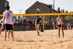 Portabello Beach April 2019-8 (Philip Gillespie) Tags: edinburgh portabello scotland summer sun sky sea beach sand people men women boys girls bikini bathing swimming water wet splash waves hands feet legs arms heads faces hot sport volley ball activities jumping leaping diving colour mono blue yellow orange pink outdoor outside nature firth forth boats sailing play playing art composition canon 5dsr tones light shade bright warm fun