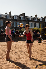 Portabello Beach April 2019-7 (Philip Gillespie) Tags: edinburgh portabello scotland summer sun sky sea beach sand people men women boys girls bikini bathing swimming water wet splash waves hands feet legs arms heads faces hot sport volley ball activities jumping leaping diving colour mono blue yellow orange pink outdoor outside nature firth forth boats sailing play playing art composition canon 5dsr tones light shade bright warm fun