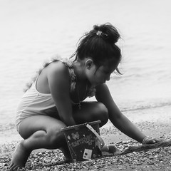 (mare_maris) Tags: blackandwhite girl kid beach beachphotography moments childhood sea child joy portrait