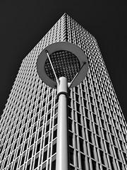 Talan Tower (RobertLx) Tags: building architecture city travel skyscraper astana nursultan kazakhstan asia modern contemporary lamppost blacksky vertical monochrome bw lookingup talantowers tower classicskyscraper