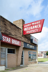 Grand Prairie Insurance Agency (dangr.dave) Tags: grandprairie tx texas downtown historic architecture neon neonsign insurance grandprairieinsurancecompany starbright ptcarpets agency