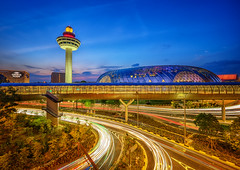 Sundown Jewel (Rexer Ong) Tags: cityscape building changiairport lighttrails traffic nightscape sky tower trees jewel travel
