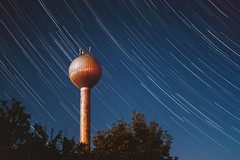 Star-trail: Water Tower, 2019.07.16 (pavelandras) Tags: sony a7rii mc11 canon 2880mm dombegyhaz ngc hungary star stars trails startrails night sky lines