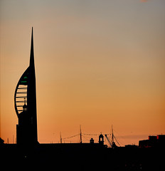 Skyline (scottprice16) Tags: england hampshire portsmouth city skyline sillhouette tower emiratesspinnakertower hmswarrior sunset clour orange evening summer square july 2019 sony sonyrx100mk6 sky buildings historic