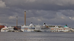 The ferries Victoria 1, Silja Symphony and Isabelle, and the cruise ship Artania in the port of Värtahamnen in Stockholm (Franz Airiman) Tags: båt boat ship fartyg stockholm sweden scandinavia tallink siljaline
