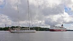 The sailboat Elida and the ferry Mariella in Stockholm (Franz Airiman) Tags: båt boat ship fartyg stockholm sweden scandinavia kaknästornet kaknästower djurgården waldemarsudde