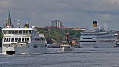 The archipelago ships Sandhamn and Östanå 1 in Stockholm, in the background the cruise ship Costa Pacifica (Franz Airiman) Tags: båt boat ship fartyg stockholm sweden scandinavia sofiakyrka söder södermalm waxholmsbolaget strömmakanalbolaget costacruises s167 stadsgården masthamnen