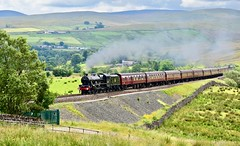 Cumbrian Mountain Express Greenholme Cumbria 13th July 2019 (loose_grip_99) Tags: shap cumbria greenholme north england uk railway railroad rail wcml train steam engine locomotive lms 5xp jubilee stanier 460 46590 leander transportation preservation mainline smoke gassteam uksteam edited trains railways mountains gradient bank july 2019