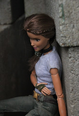 Broken Ribs (Tee-Ah-Nah) Tags: braid raider tomb movie actress girl doll move made madetomove barbie hurt wounded injured cement wall tired outdoors choker necklace broken ribs