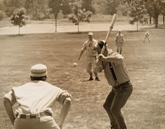 Vintage Baseball, Cantigny Park. 48 (EOS) (Mega-Magpie) Tags: canon eos 60d outdoors game sports vintage baseball cantigny park wheaton dupage il illinois usa america sepia mono people person man guy dude fella bat ball