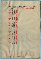 TWO BREVIARY CALENDAR LEAVES Ref  571(b) verso (RMGYMss.) Tags: medieval manuscript medievalmanuscript breviary france french centralfrance january february