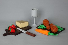 Potion Shoppe - Food (-LittleJohn) Tags: lego moc creation model food replica cheese strawberry chicken wing knife carrot
