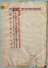 TWO BREVIARY CALENDAR LEAVES Ref 571(a) verso (RMGYMss.) Tags: medieval manuscript medievalmanuscript breviary france french centralfrance january february