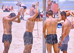 Beach Shower (Alan46) Tags: hunk stud handsome sexy muscular muscles masculine hairychested treasuretrail shirtless barechested barrelchested pecs torso abs nips nipples armpits pits unshaved scruff hunky beefy beefcake buffed brawny ballsy bitchin built beach sea sun sand man guy guapo macho telaviv israel