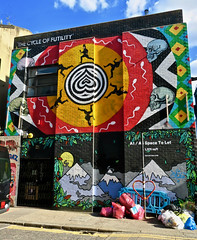 Cycle of Futility, London, UK (Robby Virus) Tags: london england uk unitedkingdom britain greatbritain gb british cycle futility gif insa artist mural street art sperm skulls run running animated app iphone
