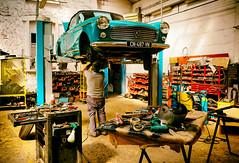 l'Homme and LA 404 cabriolet (laurent.triboulois) Tags: peugeot garage workshop cars carworkshop 404 homme man voiture 1969 outil