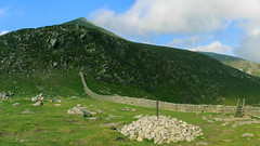 Hare's Gap, the Path to Slieve Bearnagh's North Tor (Mountain Bracken) Tags: july landscape mourne mournewall northtor northernireland outdoor rocks slievebearnagh summer ulster cairn clouds granite green hiking ireland mountain mountainside sky stile stones