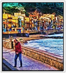 crossing by the sea (A Work of Mark) Tags: italy sicily syracuse ocean secnic digitalpainting photoshop layers color topazimpressions topazsimplify topazadjust