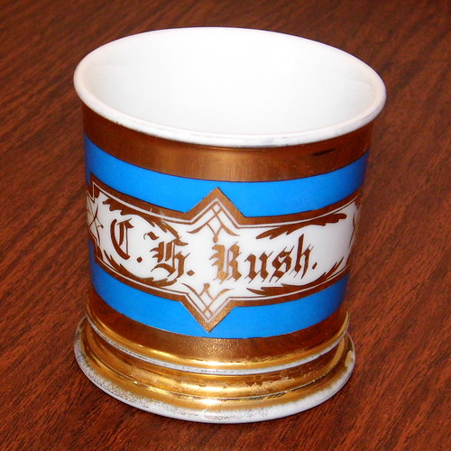 Vintage Shaving Mug, Imprinted C. F. Rush, The Name Of Its Owner, Measures 3.5 Inches Tall, Bottom Marked D& C, France