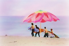 The Endless Summer (Christina's World : updated bio) Tags: surfboards beach ocean seascape sandiego sea seashore unitedstates usa umbrella pastels males boys teenager textures impressionism four sand sky topaz touristattraction california colorful painterly waterscene water realpeople 8287 8314 summer sunset streetportrait street candid fun quote delmar poster