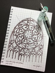 The sacred geometry of Gothic detail- Milan Cathedral (schunky_monkey) Tags: fountainpen penandink ink pen journal drawing draw sketchbook sketching sketch illustration art scale proportion geometry curves stainedglass window cathedral milan rosewindow detail architecture gothic