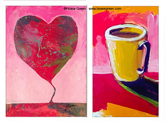 Heart balloon landscape and coffee mug still life (Howie Green) Tags: pop art paintings still life landscapes heart balloon coffee mug yellow