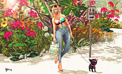 De camino a la playa (Yhesy) Tags: secondlife sexy summer shopping jeans blond top bag heels beach sunglasses maitreya woman vanity truth blueberry