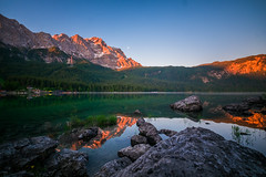 Zugspitze in Morninglight (R.Halfpaap) Tags: zugspitze eibsee morning light blue hour red purple bayern bavaria lake mountain water europe germany deutschland alpen alps