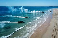 "Vehicles approach Langham's Beach in Stanage Bay during a multinational amphibious landing exercise (#PACOM) Tags: australianarmy australiandefenceforce talismansabre2019 s20191584 usindopacificcommand ""usindopacom"