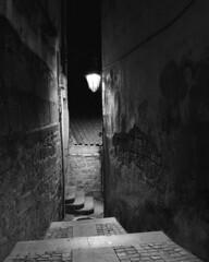 Narrow alleys (lebre.jaime) Tags: portugal beira covilhã alley streetlamp wall stairs nocturnal nightphotography analogic mediumformat mf film120 blackwhite bw noiretblanc pb pretobranco ptbw ilford delta3200 iso3200 hasselblad 500cm distagon cf4050fle epson v600 affinity affinityphoto