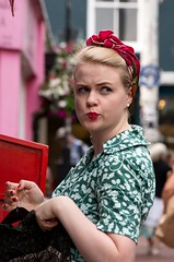 Got a feeling I'm being watched (sasastro) Tags: streetphotography candid girl lipstick retro style vintage brighton