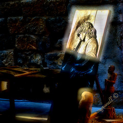 EL FLAUTISTA (csgranell) Tags: feriamedieval santmateu csgranell ediciónfotográfica edición old viejo envejecido luzycolor oscuro azul 2019 flickr facebook fotocomposicion