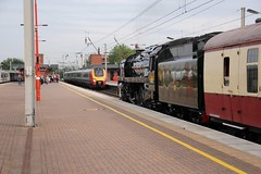 Old meets new at Wigan North Western 17th July 2019 © (steamdriver12) Tags: 1z43 saphos trains the fellsman carlisle citadel station 17th july 2019 br std 7mt no 70000 britannia smoke steam coal oil preservation heritage british railways standard pacific lancashire england vt virgin class 221 super voyager 9m48
