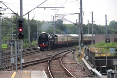 1Z43 Saphos Trains 'The Fellsman' approaches Wigan NW on 17th July headed by BR Std 7MT No. 70000 'Britannia' © (steamdriver12) Tags: 1z43 saphos trains the fellsman wigan north western station 17th july 2019 br std 7mt no 70000 britannia smoke steam coal oil preservation heritage british railways standard pacific lancashire england