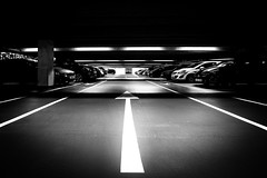 17th July 2019 (Rob Sutherland) Tags: car park multistory parking transport vehicles arrow mono stark modern underground kendal cumbria cumbrian england english uk britain british black white monochrome moody sinister threatening direction lot