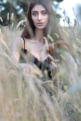 Model in Field (kmcingel) Tags: field model fashion raleigh abandonedhouse black tan moody