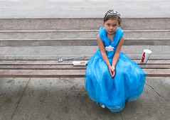 Princess Takes A Break (Russ Allison Loar) Tags: littlegirl childhood joy innocence portrait happiness youth child girl princessdress tiara blue resting treats magicwand bench sitting
