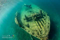 Snorkeller on the Sweepstakes (ScubaJo) Tags: tobermory underwaterphotography scubadiving fathomfivenationalpark scuba coldwaterdiving wreckdiving georgianbay lakehuron